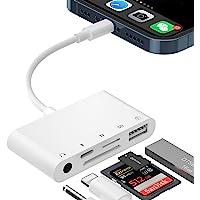 SD-Kartenleser-Adapter für iPhone, 5-in-1-USB-OTG-Kamera-Adapter mit USB-Kamera-Lesegerät und 3,5-mm-Kopfhörerbuchse SD…