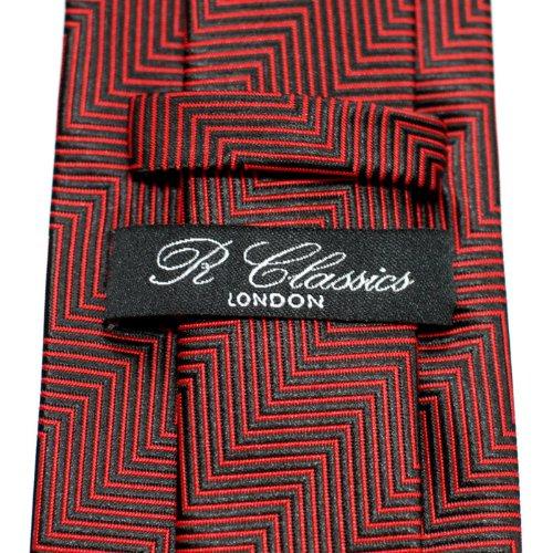 Cravate À rayures en épi Tissée en Microfibres de Retreez Noir et Rouge