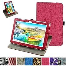 """Asus Z300M / Z300C Rotación Funda,Mama Mouth 360° Rotación PU Cuero Con Soporte Funda Caso Case para 10.1"""" Asus ZenPad 10 Z300C Z300CG Z300CL Z300CNL Z300M Android Tablet,Magenta"""
