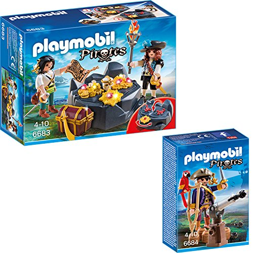 PLAYMOBIL® Piraten 2-tlg. Set 6683 Piraten-Schatzversteck + 6684 Piratenkapitän