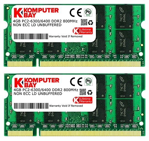 Deals For Komputerbay 8GB 2X 4GB DDR2 800MHz PC2-6300 PC2-6400 DDR2 800 (200 PIN) SODIMM Laptop Memory on Line