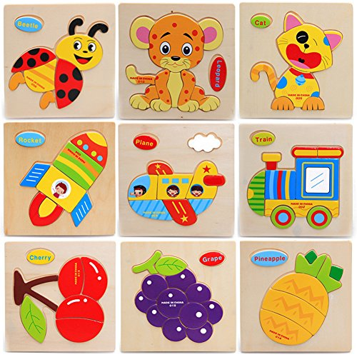 Sunsoar 3X Wooden Blocks Animals Children Educational Toy Puzzle Cartoon Baby Birthday Chriamas New Year Gift Puzzle Education Learning