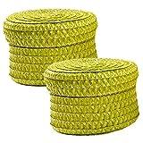 2er Pack Korb Set mit Deckel Aufbewahrungsbox Deko Badezimmer Korb geflochten, Farbe:Grün