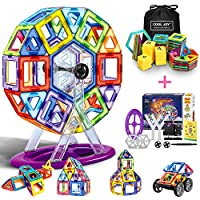 COOLJOY Magnetic Building Blocks, 108PCS Magnetics Construction Block Games with Ferris Wheels, Letter & Number Creativity Kids Educational Toys, Building Tiles Blocks Robot for Age 3 Year Old