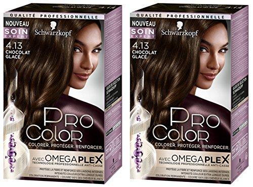 Schwarzkopf - Pro Color - Coloration Permanente Anti-Casse - Chocolat Glacé 4.13 - Lot de 2