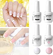 Elite99 Vernis Semi Permanent French Manucure Gris Rose - Gel UV Nail Art 15ml*4 avec Tip Guides