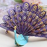 3D Pop up Grußkarte wunderschöne Pfauen öffnen der Bildschirm Ermutigung Gratulation Thank You Happy Birthday Karte Gratulation Aufmunternde Karte, violett