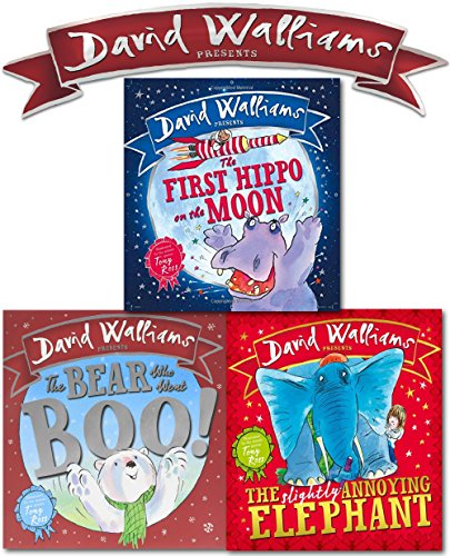 David Walliams X 3 Picture Book Set (The First Hippo on the Moon, The Bear Who Went Boo, The Slightly Annoying Elephant)