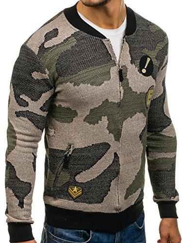 BOLF Herren Sweatshirt Sweatjacke Langarmshirt Stehkragen Zip 1A1 MIX Grün_0894