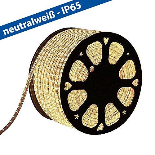 CLE LED Stripe Schlauch 1m Meterware 230V 5050 LEDs neutralweiß 4200K wasserdicht superhell