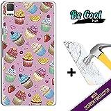 Becool® Fun- Funda Gel Flexible para Bq Aquaris E5 4G [ +1 Protector Cristal Vidrio Templado ]Carcasa TPU fabricada con la mejor Silicona, protege y se adapta a la perfección a tu Smartphone y con nuestro exclusivo diseño Cupcakes y frutas
