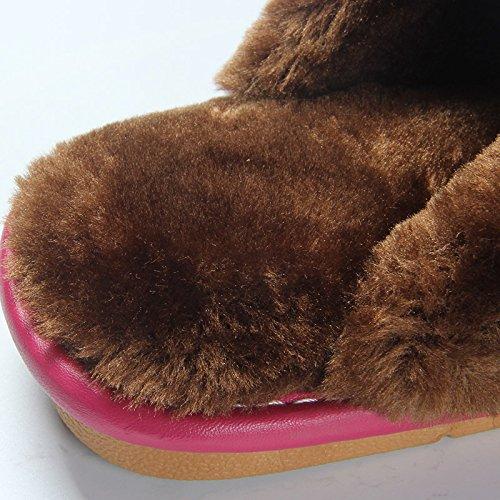 mhgao Mesdames Casual Chaussons d'intérieur antidérapant pour garder au chaud en automne et hiver en peluche pantoufles rouge vin