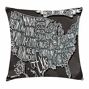 Juchenjixie – Funda de cojín con diseño de mapa de Estados Unidos, diseño de caligrafía de ciudades americanas, geografía de la ciudad, impresión artística nacional, funda de almohada decorativa cuadrada, 45,7 x 45,7 cm, color gris y blanco