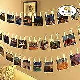 40 Led Fotoclips Lichterkette,ECOWHO 8 Modi Warmweiß Batteriebetriebene LED Lichterkette mit Fernbedienung & Timer, Ideal für hängende Bilder, Foto & Weihnachten, Party Deko