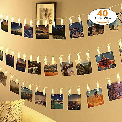 (40 Led Fotoclips Lichterkette,ECOWHO 8 Modi Warmweiß Batteriebetriebene LED Lichterkette mit Fernbedienung & Timer, Ideal für hängende Bilder, Foto & Weihnachten, Party,Halloween Deko)