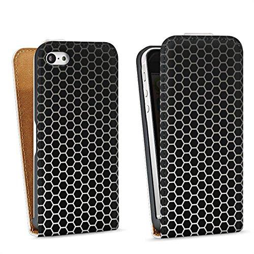 Apple iPhone 5s Housse étui coque protection Motif Motif Noir Sac Downflip blanc