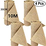 Time to Sparkle 4 Rouleaux 30cmx10M Rouleau Hessien Jute Chemin de Table Rustique Sewed Edge Vintage Décoration