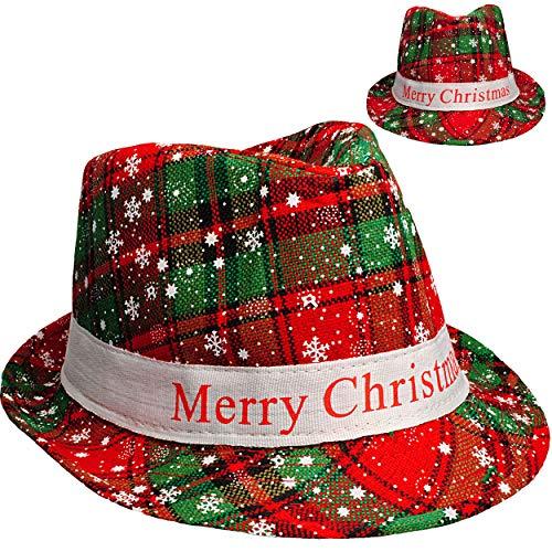 alles-meine.de GmbH Weihnachtshut - Merry Christmas - Hut universal Größe - Kinder & Erwachsene - Fedora / Trilby - Mütze Weihnachtsmütze Weihnachtsmann - Elf - cool Weihnachtsfe..