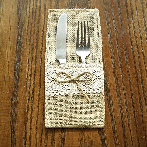 Leisial 4 Stück Hochzeit Jute Bestecktaschen Besteckbeutel Natur Jute Besteck Messer und Gabeln Besteck Set Bestecktasche Halter 10 * 21CM (Besteck-set-halter)