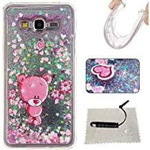 [Extremadamente Delgada] Funda Soft TPU Silicona Transparent para Samsung Galaxy Grand Prime G530 ,Samsung Galaxy Grand Prime G530 del Case Ultra Fina Cristal Clear, TOCASO Cute Pattern Cubierta Crystal Brillante Bling Flexible Antigolpes Antigravedad Completa Protectora con Bumper Thin Fit Cover Liquid Glitter Colores Carcasa Anti-Impacto Back Shell Original Slim con Flor para Chica Girls Friends Christmas- Rosa Oso + 1x Negro Stylus Pen