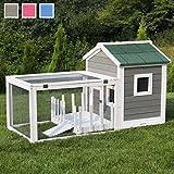 Miweba Hasenstall My Animal MH-25 Haus mit Garten Hasenvilla Kaninchenkäfig Hasenkäfig Kaninchenstall Hamster (Grau/Weiß)