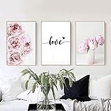 Set de 3 Poster 30x40 Fleur Rose Affiche Pivoine Citation Amour Noir et Blanc Toile Art Décoration Murale Nature Tableau Mode