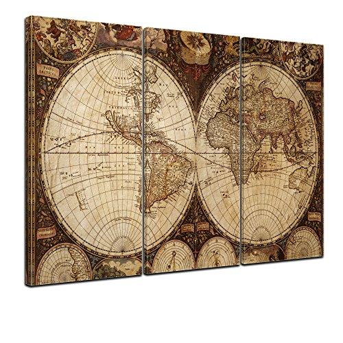 Kunstdruck Weltkarte Vintage - Bild auf Leinwand - 150x90 cm 3tlg - Leinwandbilder - Urban & Graphic - Erde - historische Darstellung