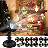 LED Projector Lights,SOLMORE Waterproof Landscape Lights 12 Slides Rotating Light Indoor Outdoor Projector Spotlight Holiday Light for Home Garden Party Birthday Decoration
