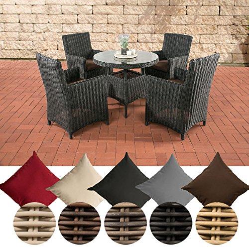 CLP Polyrattan-Sitzgruppe CASOLI mit Polsterauflagen | Garten-Set bestehend aus einem Esstisch und vier Gartenstühlen | In verschiedenen Farben erhältlich Bezugfarbe: Terrabraun, Rattan Farbe: schwarz