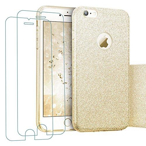 iPhone 6/6S Hülle + 2x Panzerglas(4,7 Zoll), iLiebe® Glitzer Schutzhülle [Weiche TPU Abdeckung + Glitzer Papier + PC innere Schicht] [Drei in Einem] Hülle für iPhone 6/6S (Gold)