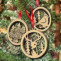 OULII Buon Natale in legno decorazioni pianura artigianato del legno dell'albero di Natale Bird appeso ornamento Laser taglio 3pcs