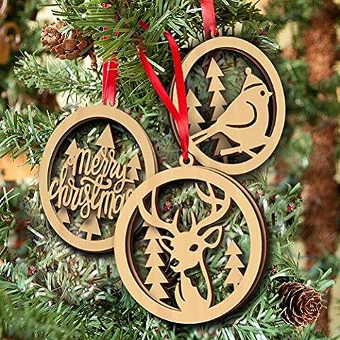 FENICAL Feliz Navidad llano adornos madera artesanía de madera árbol de Navidad pájaro colgante adorno Laser corte