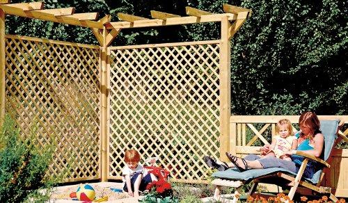 """Holz-Pergola Bausatz """"Standard"""" für die Terrasse in der Gesamtlänge 450 cm aus druckimprägnierten Holz"""