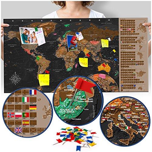 murando Mappamondo da grattare 90x45 cm Lavagna Nero Mappa del mondo Laminata (superficie scrivibile e cancellabile) Mappa del mondo da grattare con le bandiere Mappa da grattare k-A-0216-o-c