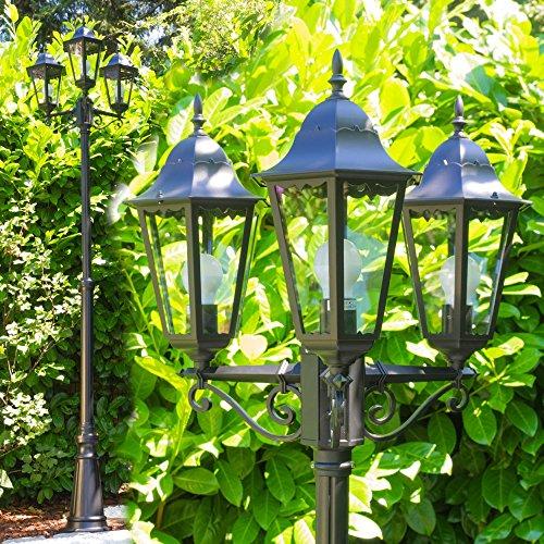 Kandelaber 3-flammig in Schwarz - Sockelleuchte aus Aluguss - Gartenleuchter mit 3 E27-Fassungen - Wunderschöne Außenleuchte für Ihren Garten