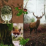 20 Servietten Forest resident – Waldbewohner / Hirsch / Waldtiere 33x33cm