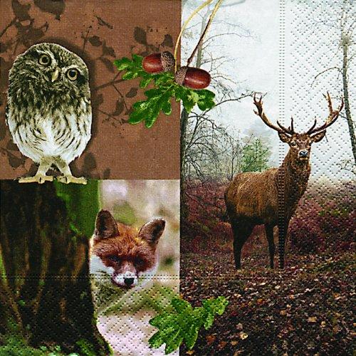 20-servietten-forest-resident-waldbewohner-hirsch-waldtiere-33x33cm