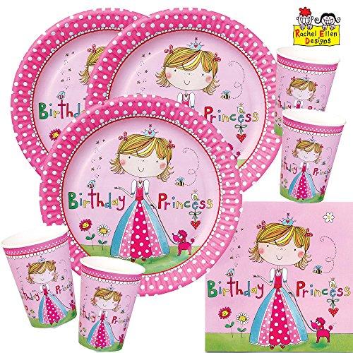 52-teiliges Party-Set Rachel Ellen Kleine Prinzessin - Teller Becher Servietten für 16 Kinder