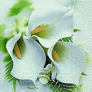 20 Servietten Calla Bouquet - Strauß voller Callas / Blumen 33x33cm