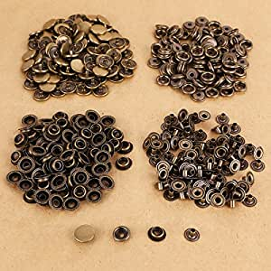100 x bouton pression 15mm métal bronzé cuir maroquinerie DIY