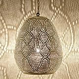 Orientalische Marokkanische handgefertigte Pendellampe Deckenleuchte Silber-Messinglampe für tolle Lichtspiele wie aus 1001 Nacht Saham D28