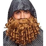 Fausse barbe de chevalier Barbe postiche Moyen-Âge bouclé Accessoire de costume montagnard Poils artificiels Matériel déguisement roi Barbouze chevalier pillard