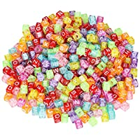 TRIXES Multi-Coloured Alphabet Acrylic Cube Beads Translucent Assorted Letters for Personalised Jewellery Making Arts and Crafts