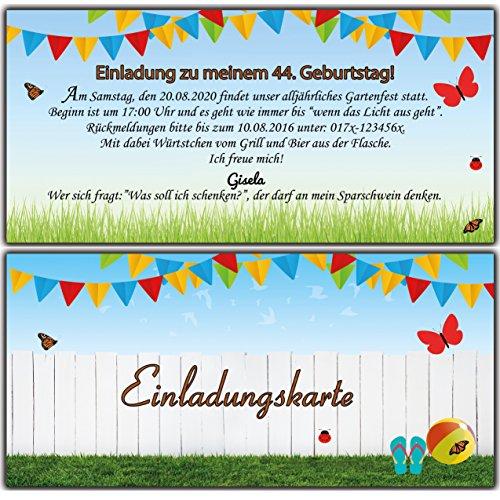 Einladungskarten Als Eintrittskarte Einladung Geburtstag Gartenparty  Sommerfest   20 Stück: Amazon.de: Bürobedarf U0026 Schreibwaren