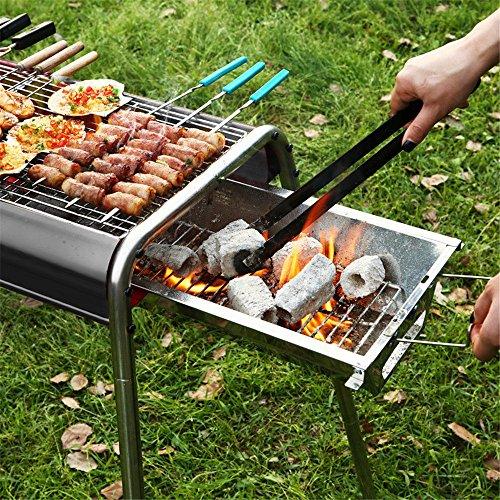 Outdoor-Ofen aus Aluminiumlegierung, Holzkohlegrill, eine ganze Reihe von inländischen Grill-Ofen, 35 * 64 * 74cm, schwarz