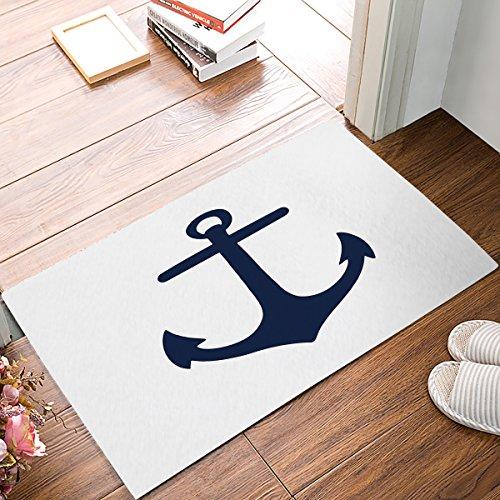 Maritim Anker Thema Fußmatten Eingang Vorne Tür Teppich Outdoor/Indoor-/Badezimmer/Küche/Schlafzimmer/Diele Fußmatten , Rutschfest Gummi, Low-Profile 18 x 30 Marineblau