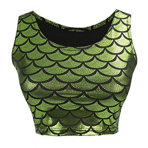 a0408690d0fe3 JNTworld Femmes Sexy sirène écaille de poisson Hologram stretch soyeux Vest
