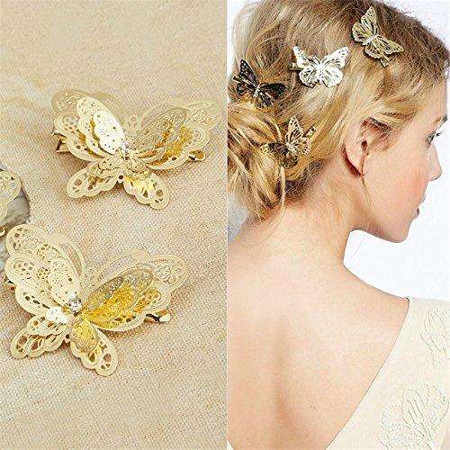 Toruiwa Haarclips Haarklammer Schmetterling Form Haarspangen für Kinder Mädchen Hochzeit Braut Gold (4 Stück)