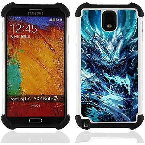 Hypernova Ibrido Heavy Duty Armatura antiurto Cover silicone cassa caso robusto Per SAMSUNG Galaxy Note 3 III / N9000 / N9005 [Blu Spikes Mostro male oscuro congelata]