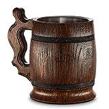 Grande Chope à bière en bois–Chêne–fabriqué à la main avec un Artisanat et des matériaux de qualité Exceptionnel–avec doublure en métal–Heavy Duty–robuste–longue durée
